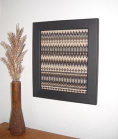 """Woven Wall Art - Norwegian Krokbragd Weaving in Frame - Framed Nordic Weaving - Handwoven Wall Decor - Scandinavian Weaving - 11"""" x 12.5"""""""