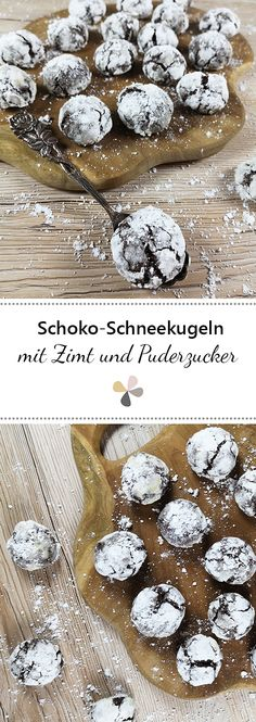 Schoko-Schneekugel Plätzchen Chocolate snow globe cookies with cinnamon and powdered sugar Thanksgiving Cookies, Thanksgiving Appetizers, Meat Appetizers, Healthy Holiday Recipes, Holiday Cookie Recipes, Biscuits, Chocolate Cookies, Snow Globe, Powdered Sugar