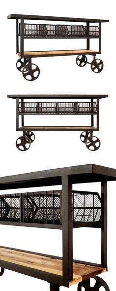 Inspired by old-fashioned railroad carts, this caster-equipped Trolley Console will add a dose of classic character to your home. This retro console features a spacious tabletop, four basket spaces, an... Find the Trolley Console, as seen in the The Foundry Collection at http://dotandbo.com/collections/the-foundry?utm_source=pinterest&utm_medium=organic&db_sku=114769
