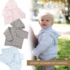 Every little boy and girl needs a cozy and classic hoodie to keep them warm and looking adorable all winter long! Our Hooded Jacquard Knit Cardigan has the loveliest raised knit pattern and comes in white, blue or pink in sizes 3m-24m! Matching blanket available as well!  http://feltmanbrothers.com/hooded-jacquard-knit-cardigan/ http://feltmanbrothers.com/jacquard-knit-blanket/