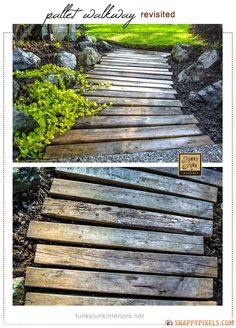 DIY used pallet walkway