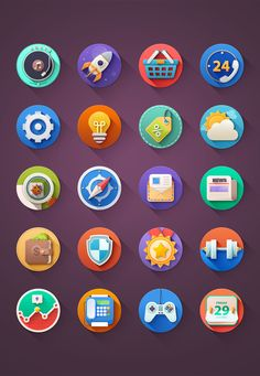 Kinda Flat Icons PSD