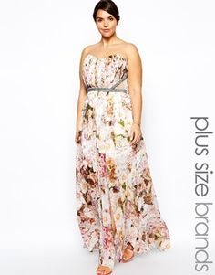 Little Mistress Floral Print Maxi Dress With Embellished Waist #plussize, nice offbeat option for a wedding dress