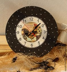 Часы «Петушок» - коричневый,часы,Декупаж,петух,подарок,часы декупаж,часы настенные