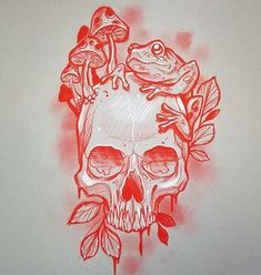 None of these images are mine =) Skull Rose Tattoos, Skull Hand Tattoo, Skull Tattoo Design, Tattoo Design Drawings, Tribal Tattoos, Skeleton Drawings, Dark Art Drawings, Arlo Tattoo, Tatuagem Old Scholl