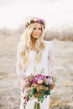 Lace long sleeves, a flower crown, and a bright & colorful bouquet makes for a #Beautiful Boho Wedding #Style