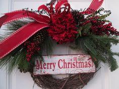 MERRY CHRISTMAS WREATH  , Rustic Door Wreath , Country Inspired Door Wreath  , Holiday Door wreath , Seasonal Door Decor Wreath , Christmas by AutumnsEchoShoppe on Etsy