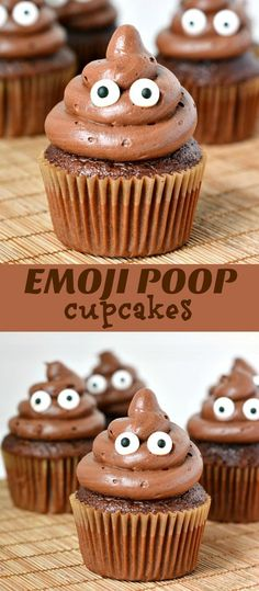 Poop Emoji Cupcakes for an Emoji Birthday Party - from http://mombythebeach.com
