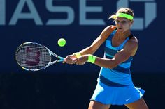 "Lucie Safarova, 2012: ""Lucie wears a usual style with a twist using a bright headband and sweatbands to match the tennis ball!""-- Julien Farel"