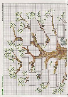 Tree part 1 Lds Cross Stitch, Cross Stitch Family, Cross Stitch Letters, Cross Stitch Tree, Cross Stitch Needles, Counted Cross Stitch Patterns, Cross Stitch Embroidery, Embroidery Patterns, Quilt Labels