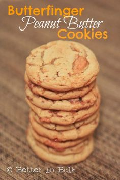 Butterfinger Peanut Butter Cookies - fabulous, chewy, sinful cookies. Don't wait til Halloween to make this recipe! #cookies #dessert #desserts