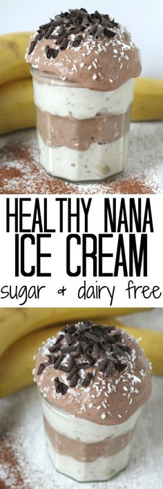 Chocolate and Vanilla Nana Ice Cream. A healthy sugar free and dairy free ice cream. All the taste and none of the guilt!