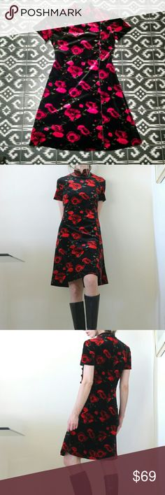 "Vintage Black & Red Velvet Dress Poppies striking print black and red velvet poppy vintage dress with beautiful Asian inspired details   Evan Picone size 4 Back zip Could fit various sizes s-m  Shown on 5'8"" size 4  Great vintage condition.  Tags asian vintage 90s y2k boho holiday party goth gothic floral poppies Vintage Dresses"