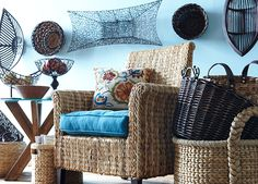 Hang a few baskets to make the room feel like an open-air market.