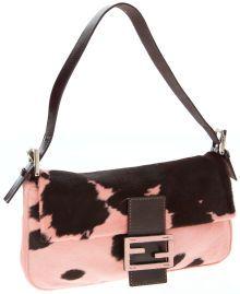 cb9797aaf1 Fendi Pink and Brown Ponyhair Baguette Shoulder Bag Best Handbags
