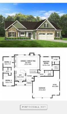 652 Best House plan ideas images in 2019 | Ranch home plans, Ranch  Sq Ft Single Level House Plans With Open Floor Plan Html on