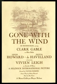 "A page from the premiere program of ""Gone With the Wind""."