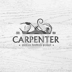 Carpenter design element in vintage style for logo, label, badge, t-shirts. Carpentry retro vector illustration.