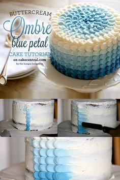Blue Ombre Petal Cake Tutorial by Cake Central. Stunning, isn't it? I made this beautiful ombre petal cake for my sons (sigh) Birthday. Pretty Cakes, Cute Cakes, Beautiful Cakes, Amazing Cakes, Cake Decorating Techniques, Cake Decorating Tips, Cookie Decorating, Buttercream Cake Decorating, Buttercream Cake Designs