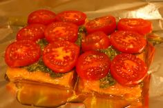 Foil-Baked Salmon w/ Basil Pesto and Tomatoes - on the grill, delish, no clean-up! Adding to rotation.