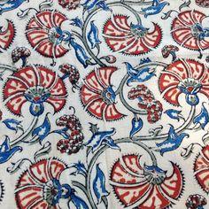 Kalamkari Indian fabric blue, black rust floral on tan cotton one yard or more