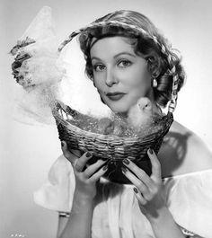 arlene dahl with a basket of easter chicks | 1950 | #vintage #1950s #easter