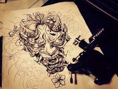 hannya tattoo drawing 한야 타투 드로잉