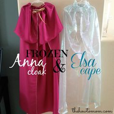 FROZEN Elsa Cape and Anna Cloak DIY Tutorial - I made these in like 15 minutes, and my girls LOVE them! via The How To Mom