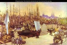 """The Harbour at Bordeaux, Oil by Edouard Manet France). """"The Harbour at Bordeaux"""" Edouard Manet - Oil At the moment this painting is in a Private Collection, Switzerland. Camille Pissarro, Claude Monet, Edouard Manet Paintings, Paul Cézanne, Painting Prints, Art Prints, Boat Painting, Oil Paintings, Canvas Art"""