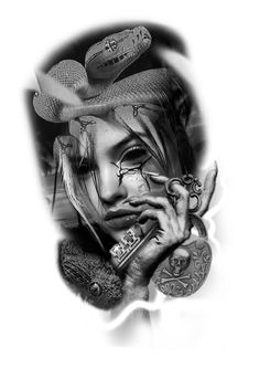Skull Girl Tattoo, Hp Tattoo, Girl Tattoos, Medusa Tattoo Design, Tattoo Designs, Girl Face, Woman Face, Molotov Tattoo, Mago Tattoo