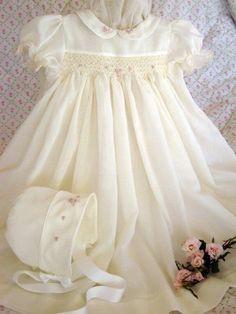 Smocked dress & embroidered bonnet - rosebuds