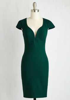 For a Good Cosmo Dress in Forest Green. Make an eye-catching statement at the benefit dinner in this sultry sheath dress - available in September. #green #modcloth