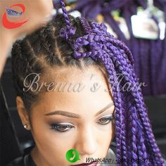 Crochet Braids Purple : Crochet box braid extensions Purple 18inch crochet braid box hair ...