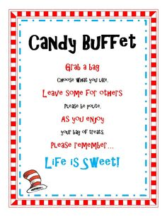 candy buffet sayings for baby shower | Dr Seuss Birthday Baby Shower Party Candy Buffet Treat Sign Printable