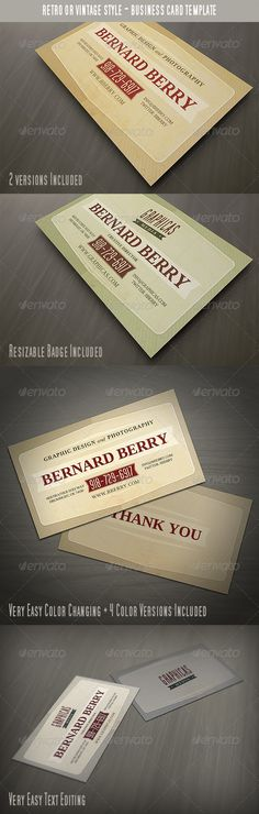 Retro or Vintage Style Business Card - http://graphicriver.net/item/retro-or-vintage-style-business-card/3146692?ref=cruzine