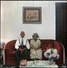 Mr and Mrs Albert Thornton sit in the front room of their home in the town. Writing became very important to Parks later in his life, and he would go on to co-found the magazine Essence