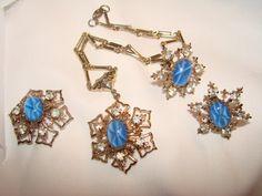SALE Vintage Blue Star Moonstones Rhinestones by Lavendergems, $20.00