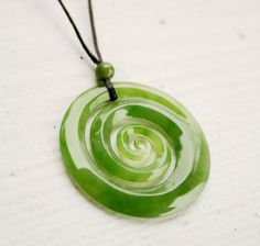 Jade Koru Necklace - New Zealand Maori Koru - A Grade Nephrite Jade - Adjustable Leather Cord