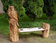 Holzeule Holz Eule Eulenbank owlbench Kettensäge Wood Carver Chainsaw Artist Carving BaerArt Skulpturen und Totems Holger Bär Art Kunst