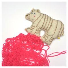 Children's stuffed animal || cotton embroidered bear || new baby gift || plushies || personalised newborn gift || alphabet animals || by MokodoStudio on Etsy