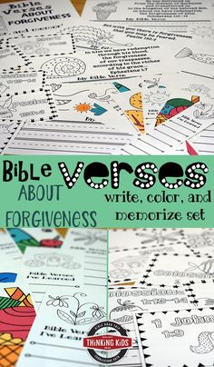 Bible Verses About Forgiveness Write, Color, and Memorize Set This is so fun! Your kids will learn 8 verses about hope in ESV or KJV. via boys girls Teen quotes Teens Teens christian Verses For Kids, Bible Crafts For Kids, Kids Bible, Bible Verses About Forgiveness, Homeschool Curriculum, Homeschool Kindergarten, Christian Parenting, Bible Lessons, Learning Activities