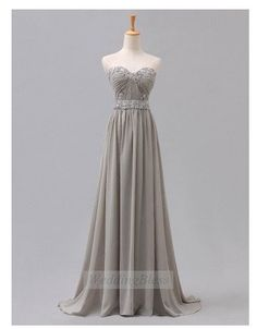 Silver Light Grey Long Prom Dress Sweetheart Sequin Chiffon Dresses on Etsy, $118.00