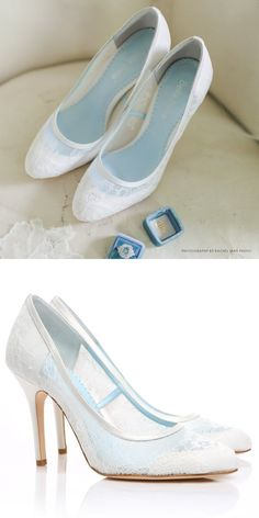 Closed Toe Pumps with Something Blue Lining Bridal Shoes