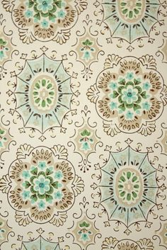 Geometric Vintage Wallpaper - Tan Brown Aqua Blue and White Geometric