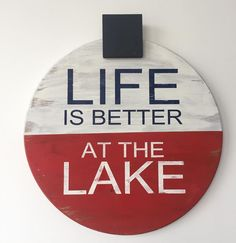 Customize your wall with a wooden sign! Here's a unique one created by Hello DIY a shop that offers do-it-yourself workshops, private parties, and MudPaint! Check out their Etsy store for more great signs! https://www.etsy.com/shop/charitylewis #mudpaint #lake #minnesota #paint #woodensigns #homedecor #workshops #bobber #fishing #diy #customsigns #repurpose #upcycle #paintedfurniture