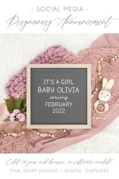Share the exciting news of your pregnancy or baby girl's gender with friends and family on Social Media with this Digital Pregnancy Announcement or Girl Gender Reveal Announcement! Easily edit with your info and post on Instagram, Facebook or other social media platforms! Demo Design Before Purchase! #DigitalPregnancyAnnouncement #girlgenderreveal #EditableLetterboard #DigitalBabyReveal #Corjl Gender Reveal Announcement, Baby Olivia, Exciting News, Platforms, Letter Board, Holiday Cards, Pregnancy, Social Media, Facebook