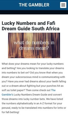 The Gambler's Fafi Dream Guide for numbers 1-49. You can use a dream guide to translate your dream to lucky numbers for lotto and fafi. Dream Guide, Lucky Number, Subconscious Mind, South Africa, Dreaming Of You, Numbers