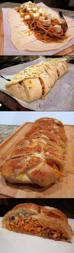 braided spaghetti bread recipe Refrigerated pizza dough Cooked spaghetti Cubed mozzarella cheese Bake according to package directions.