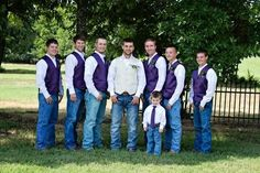 Liking a idea similar but way better than these guys... for the groomsmen: jeans with black shirts and purple ties with color coordinated sneakers or black dress shoes that go well with jeans and then for groom maybe purple shirt with black vest and pinstripe tie with jeans. Hmmm... so many ideas flowing through my head when it comes time for that special day. [Cough cough] someone needs to hurry up SMS!!
