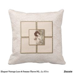 Elegant Vintage Lace & Femme Throw Pillow